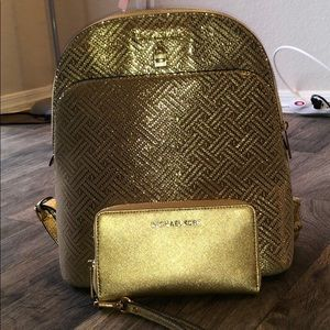 Michael Kors gold backpack & matching wallet!